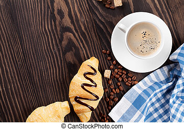 Fresh croissants and coffee