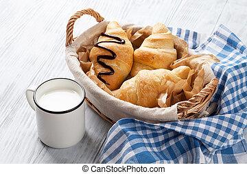 Fresh croissants basket and milk