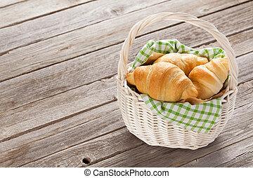 Fresh croissants basket