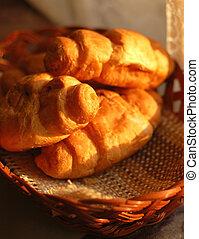 fresh croissants in basket