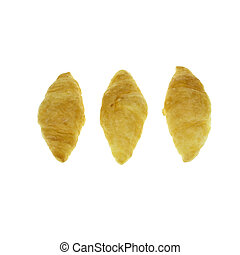Fresh croissants isolated on white background. French roll