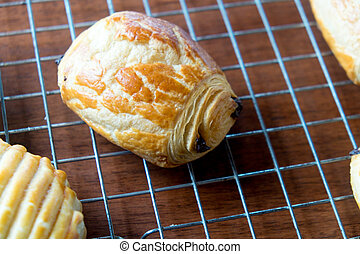 Fresh croissants with chocolate