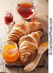 fresh croissants with jam for breakfast