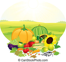Fresh Crop - Harvesting ripe crop on nature - vector objects...