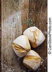 Fresh crusty bread rolls