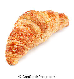 Fresh crusty croissant isolated on white background
