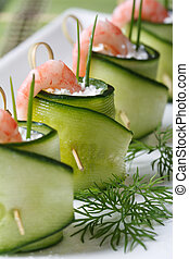 fresh cucumber rolls with shrimp and cheese macro