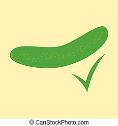 fresh cucumber vegetable isolated flat icon. cucumber for farm market, vegetarian salad recipe design. Vector illustration in flat style