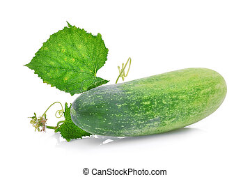 fresh cucumber with green leaves isolated on white background