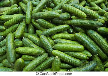 Fresh cucumbers at a farmer's country farm stand