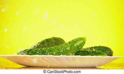 Fresh cucumbers fall with drops of water on a plate. The concept of nutrition. Isolate on a yellow background, slowdown