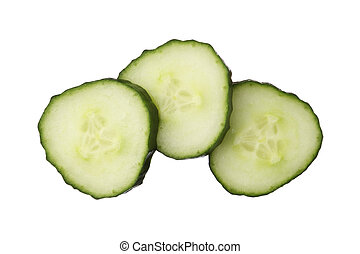 Fresh cut cucumber isolated on white background, close up