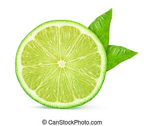Fresh cut lime fruit isolated on white background