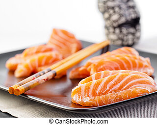 Fresh cut salmon