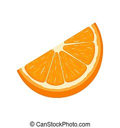 Fresh cut slice orange fruit isolated on white background. Tangerine. Organic fruit. Cartoon style. Vector illustration for any design.