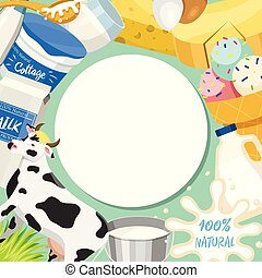 Fresh dairy products concept round pattern vector illustration. Organic, quality food. Great taste and nutritional value. Farm animal milk, ice cream and cottage cheese.