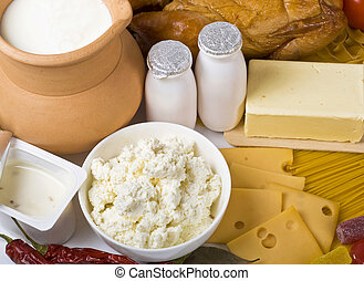 fresh dairy products - Group of dairy milk products ...