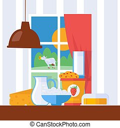 Fresh dairy products, vector illustration. Milk, cheese and butter on a kitchen table in farmhouse. Window with countryside view, grazing cow in cartoon style