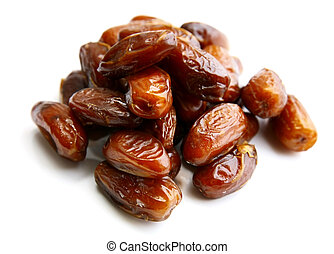 Fresh dates on white background