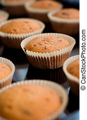 Fresh delicious muffins on oven tray