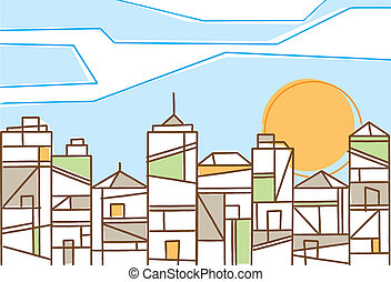 Fresh design of a contemporary city in daylight under a bright sun with stylized skyscrapers and highrise buildings formed of geometric patterns