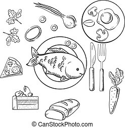 Fresh dinner food with sketch vector icons