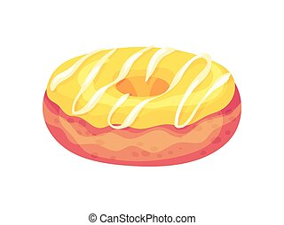 Fresh donut with yellow icing. Vector illustration on white background.