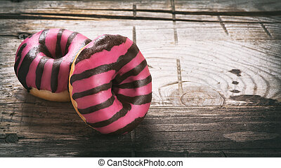 Donut on a wooden table