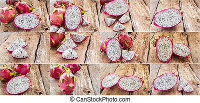 Fresh dragon fruit on wooden table