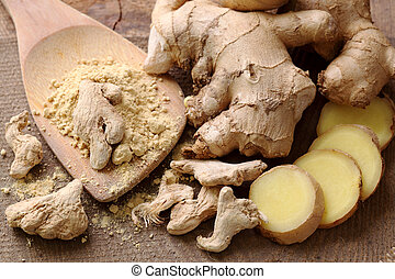 Fresh, dried and powdered ginger close up