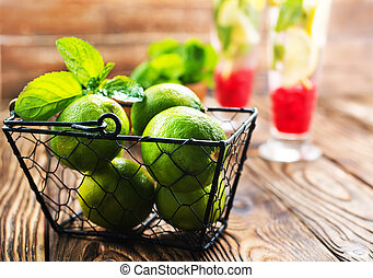 fresh drink with lime and mint, stock photo