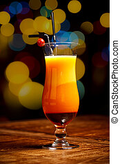 Fresh drink coctail on a color background blur bokeh