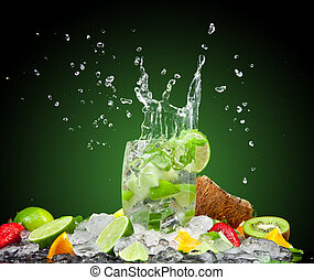 Fresh drink - Fruit cocktail with dark background