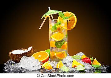 Fresh drink - Fruit cocktail with dark background
