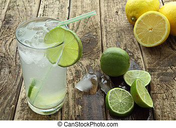 Fresh drink with lime and ice