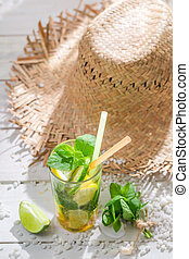 Fresh drink with mint leaf in hot day