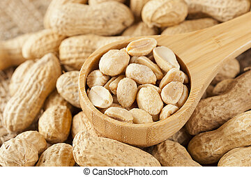 Fresh Dry Organic Peanuts against a background