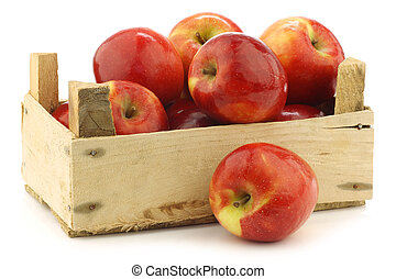 """fresh Dutch """"Jazz"""" apples in a wooden crate on a white..."""