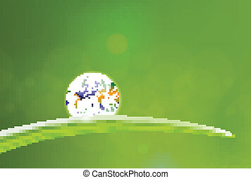 Fresh Earth dew drop - beautiful illustration of planet...
