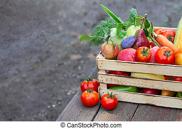 Fresh eco vegetables and fruit on wooden crate or box on rustic table in a garden