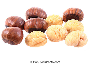 fresh edible chestnuts isolated on the white background