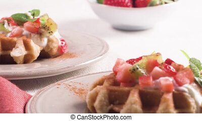 Fresh egg waffles dessert for breakfast with yogurt,...