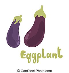 Fresh Eggplant vegetable isolated icon. Eggplant for farm market, vegetarian salad recipe design. Vector illustration in flat style with text.