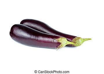 Fresh eggplants isolated on white background