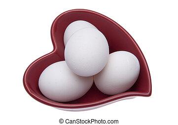 Fresh Eggs in a Heart Shaped Dish