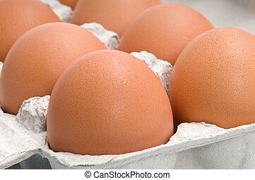 Fresh eggs in box