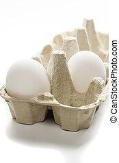 fresh eggs in box