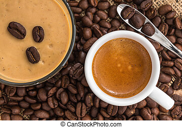 fresh espresso with a beautiful crema and coffee smoothie on...