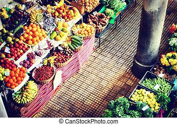 Fresh exotic fruits at the market. Funchal, Madeira - Fresh ...