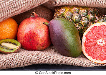 Fresh exotic fruits close up.
